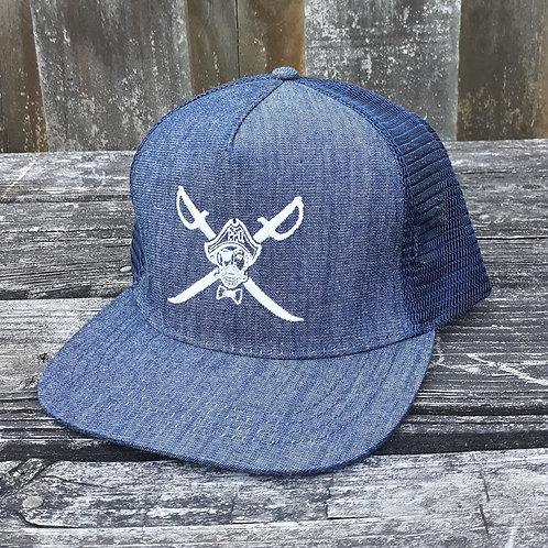 Preppy Pirate Flat Bill Denim Snapback Trucker Hat