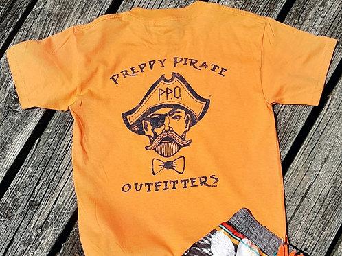 Kids Preppy Pirate Double Logo t shirt - Orange