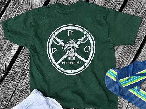 Kids Preppy Pirate circle Logo t shirt - Green