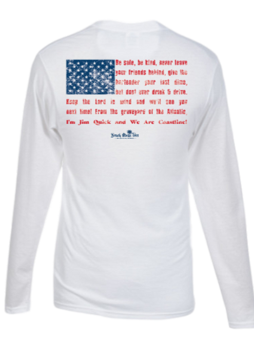 Jim Quick & Coastline Flag USA UPF+ 30 longsleeve fishing tee