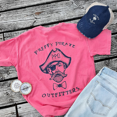 Preppy Pirate Double Logo T shirt - Watermelon