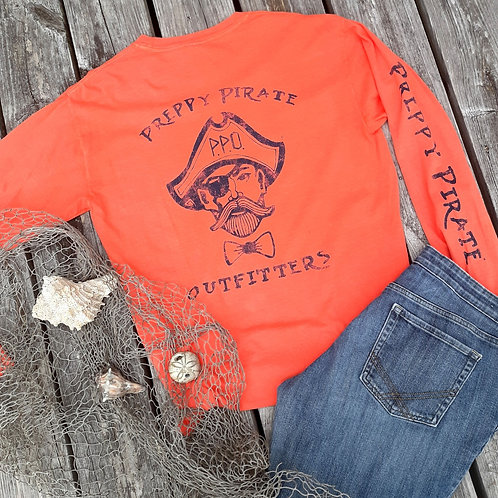 Preppy Pirate Outfitters triple logo Long sleeve t - Bright Salmon
