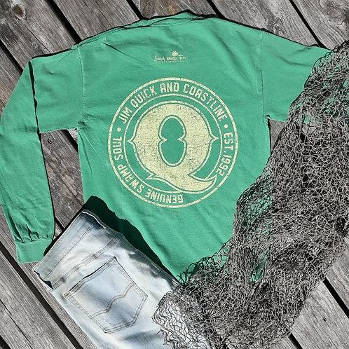 Jim Quick & Coastline Distressed Logo Long Sleeve T shirt W/ Pocket