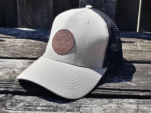 Preppy Pirate Linen trucker hat w/ Leather patch