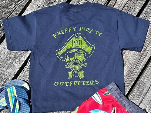 Kids Preppy Pirate Double Logo t shirt - Blue w/ Green