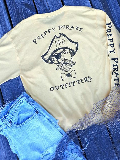 Preppy Pirate Outfitters triple logo Long sleeve t - Yellow Gold/Black