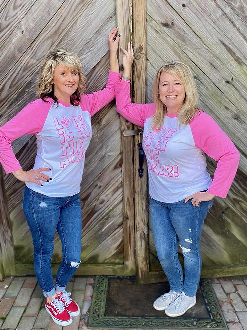Love is in the Arrr! - Preppy Pirate Pink/white Raglan shirt
