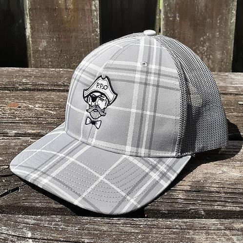 Preppy Pirate Grey Plaid snapback trucker hat