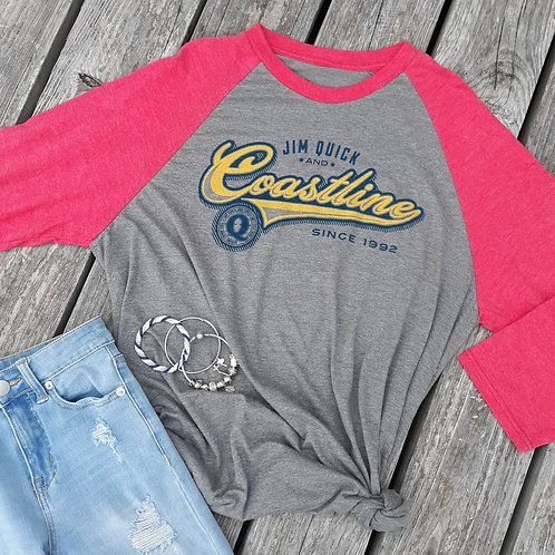 Ladies Jim Quick & Coastline tri blend baseball tee - red
