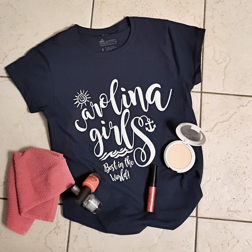 """Ladies CAROLINA GIRLS """"Best in the World"""" fitted T shirt - Navy"""