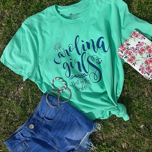 "Ladies CAROLINA GIRLS ""Best in the World""  T shirt - Mint Green"