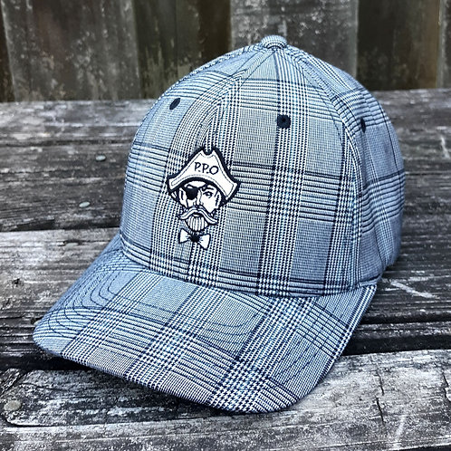 Preppy Pirate Silver Plaid fitted flex hat
