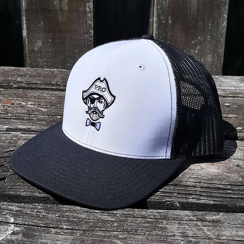 Preppy Pirate Black & White snapback trucker hat