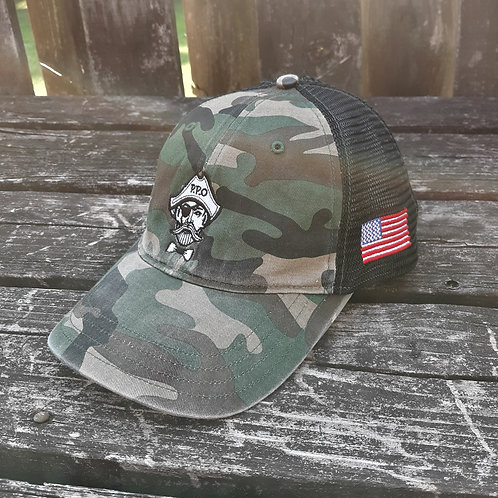 Preppy Pirate Military Inspired Army Camo unstructured snapback hat