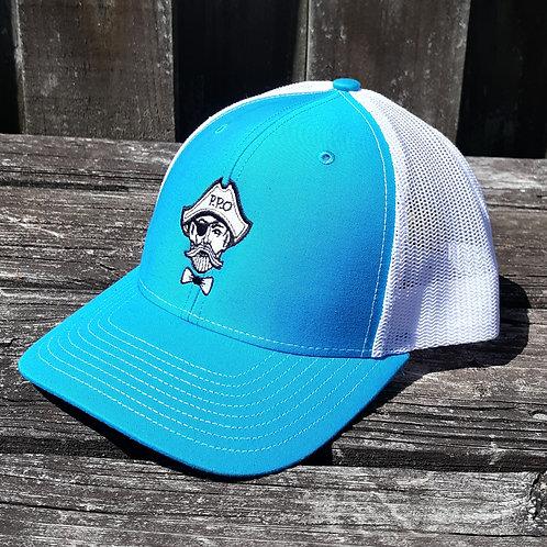 Preppy Pirate Aqua snapback trucker hat