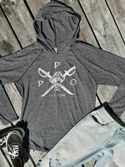 """Preppy Pirate """"Twisted Pirate"""" Black hoody work out shirt"""