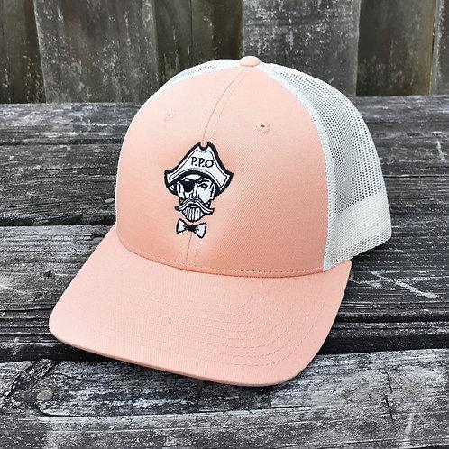 Preppy Pirate logo snapback trucker hat - Peach