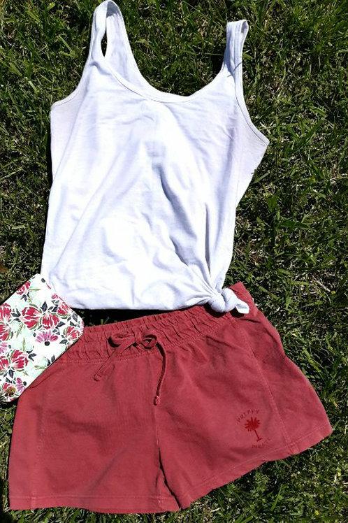Ladies Preppy Pirate Summer Shorts - Crimson Red