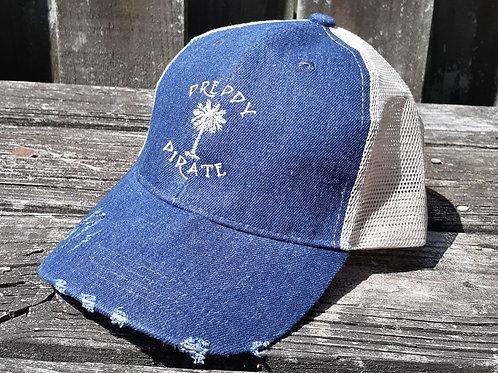 "The Preppy Pirate ""Palm Tree"" Denim Trucker Hat"