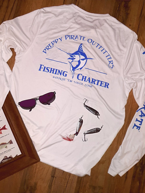 Preppy Pirate Outfitters Performance Fishing Charter tee / Long sleeve White