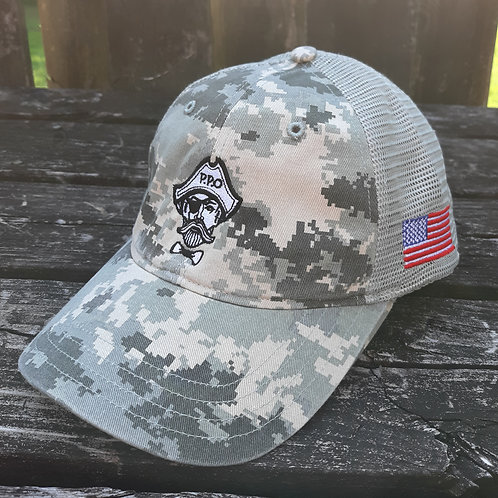 Preppy Pirate Military Inspired Digi Camo unstructured snapback hat