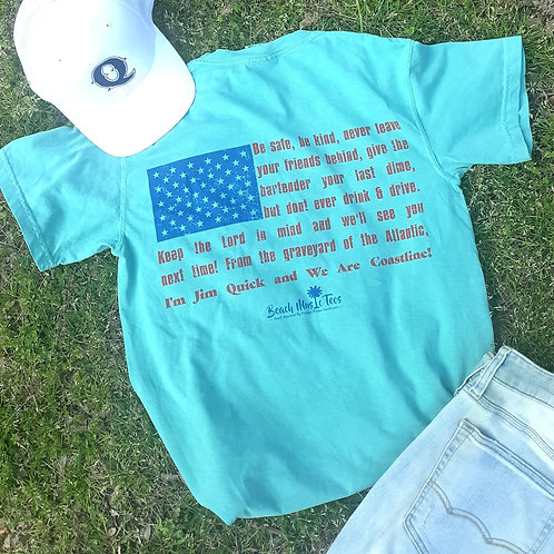 Jim Quick & Coastline WE ARE COASTLINE USA Flag shirt - teal