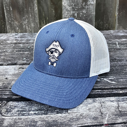 Preppy Pirate Heathered Navy snapback trucker hat
