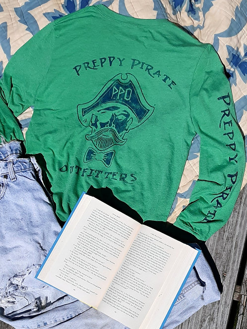 Preppy Pirate Triple Logo Green Longsleeve Tee