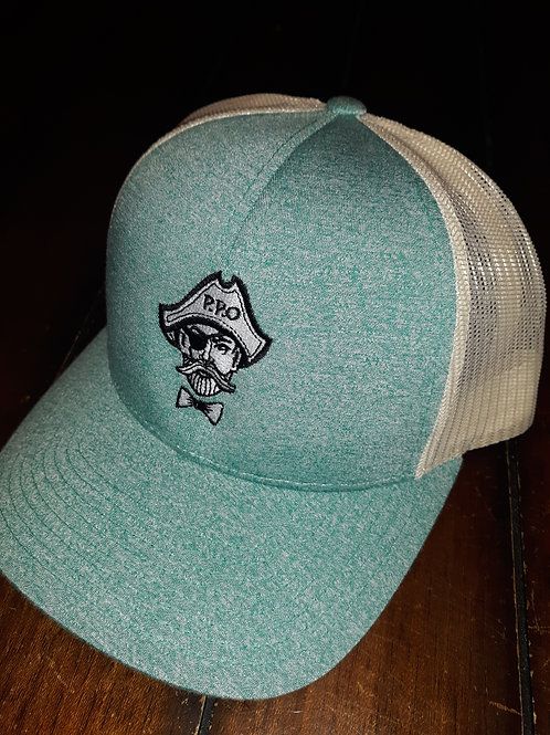 Preppy Pirate Heathered Teal trucker hat