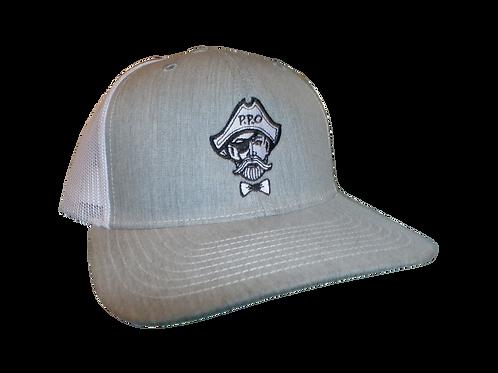 Preppy Pirate snapback trucker hat - Heather Grey/White