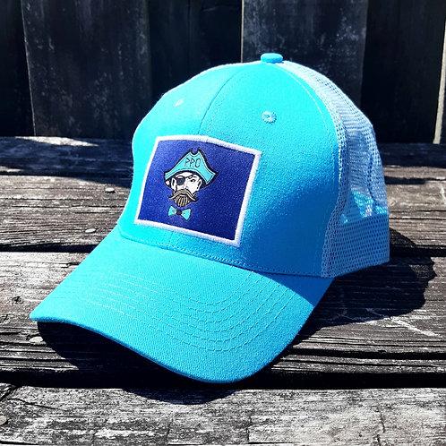 Square patch Preppy Pirate trucker hat