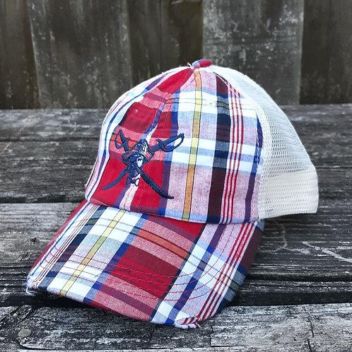 Preppy Pirate Madras Plaid trucker hat