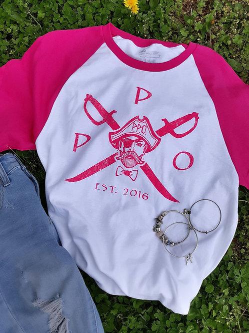 Ladies Preppy Pirate Pink Cross Sword raglan