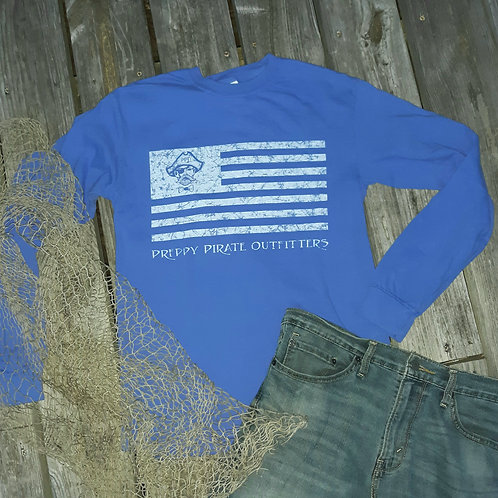 """Preppy Pirate """"United We Rep"""" Flag Long sleeve t shirt"""
