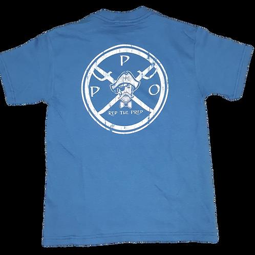 Kids Preppy Pirate circle Logo t shirt - Indigo blue