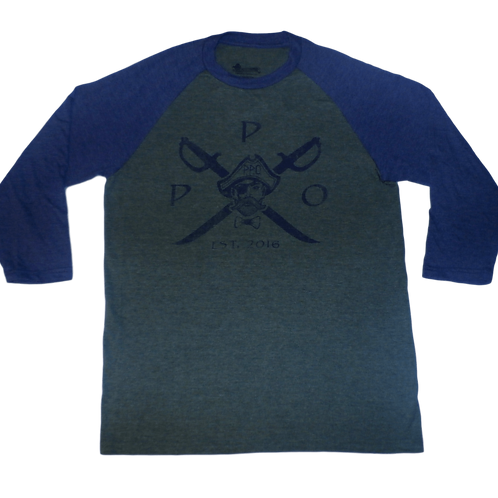 Cross Swords Distressed Logo raglan 3/4 sleeve tri-blend fashion tee