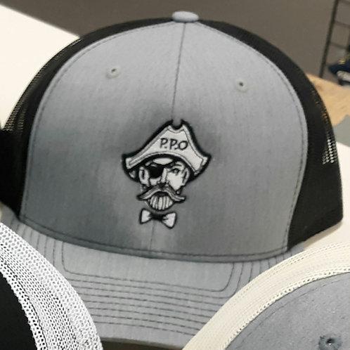Preppy Pirate Heather Grey & Black trucker hat