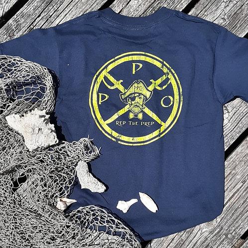 Kids Preppy Pirate circle Logo t shirt - Navy w/ yellow