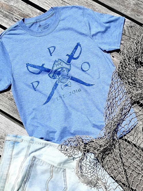 Preppy Pirate Cross Swords Heather Blue T Shirt