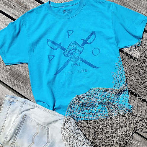 Preppy Pirate Cross Swords Turquoise T Shirt
