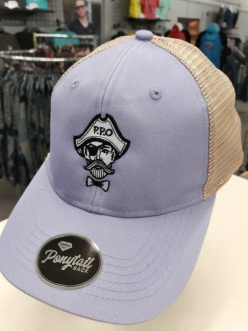 Ladies Preppy Pirate logo PONYTAIL opening trucker hat - Lavender