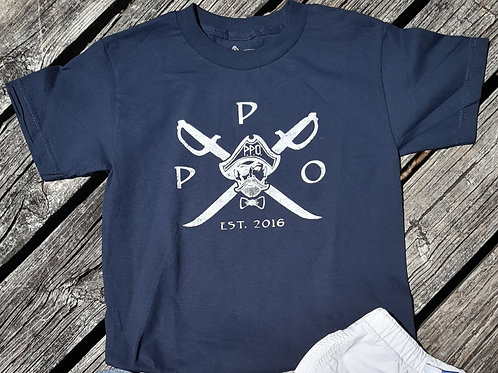Kids Preppy Pirate Cross Sword t shirt - Navy