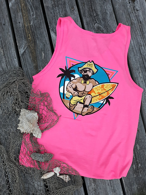 Preppy Pirate Neon Retro Surfer Tank Top