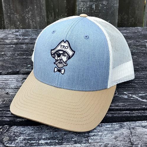 Preppy Pirate snapback trucker hat - Heather Grey/Birch/A.Gold