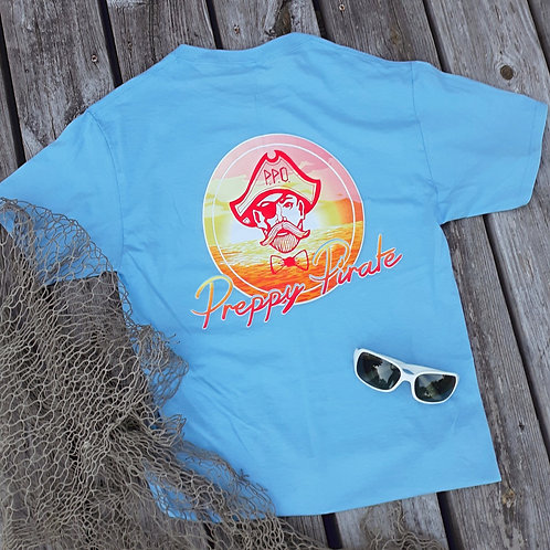 Preppy Pirate Retro Sunset Tee