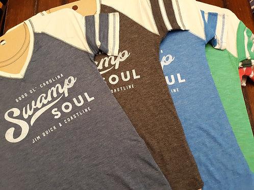 "Ladies Jim Quick & Coastline ""Swamp Soul"" Burnout baseball shirt"