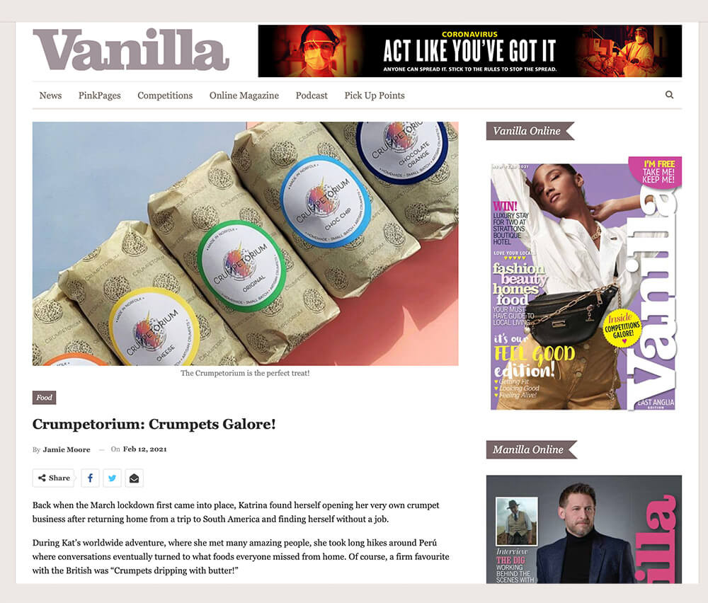 Artisan crumpet company featured in Vanilla Magazine