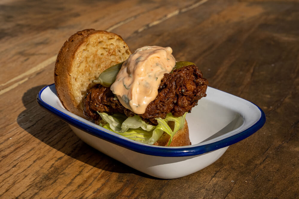 Lodge Farm Kitchen's Fried Chicken Crumpet burger