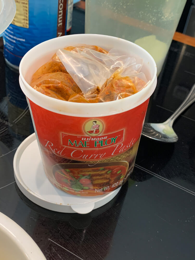 red Thai curry paste for hor mok