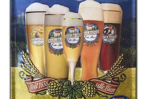 """Blechschild """"Hier serviert man Ihnen edle Maxlrainer Biere"""""""